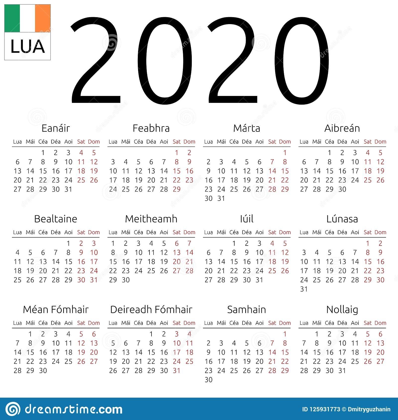 Calendar 2020, Irish, Monday Stock Vector - Illustration Of