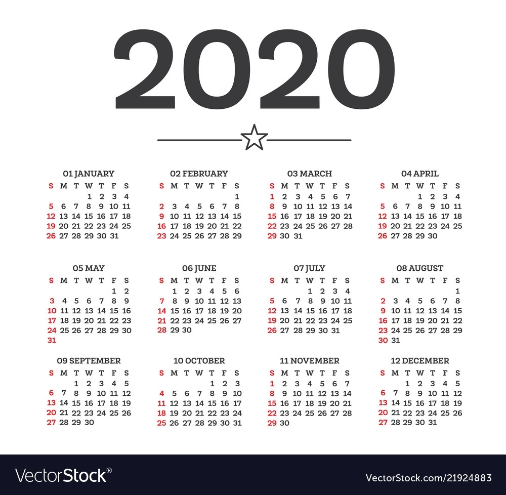 Calendar 2020 Isolated On White Background Week