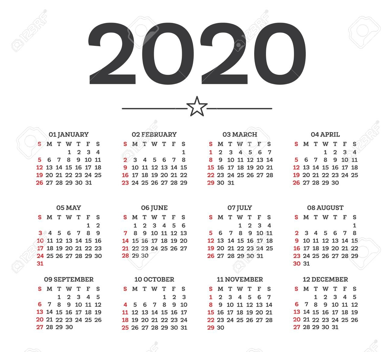 Calendar 2020 Isolated On White Background. Week Starts From..