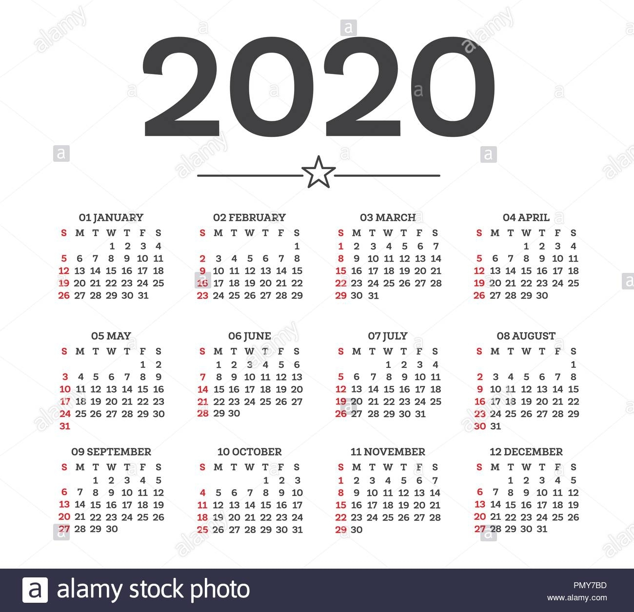 Calendar 2020 Isolated On White Background. Week Starts From