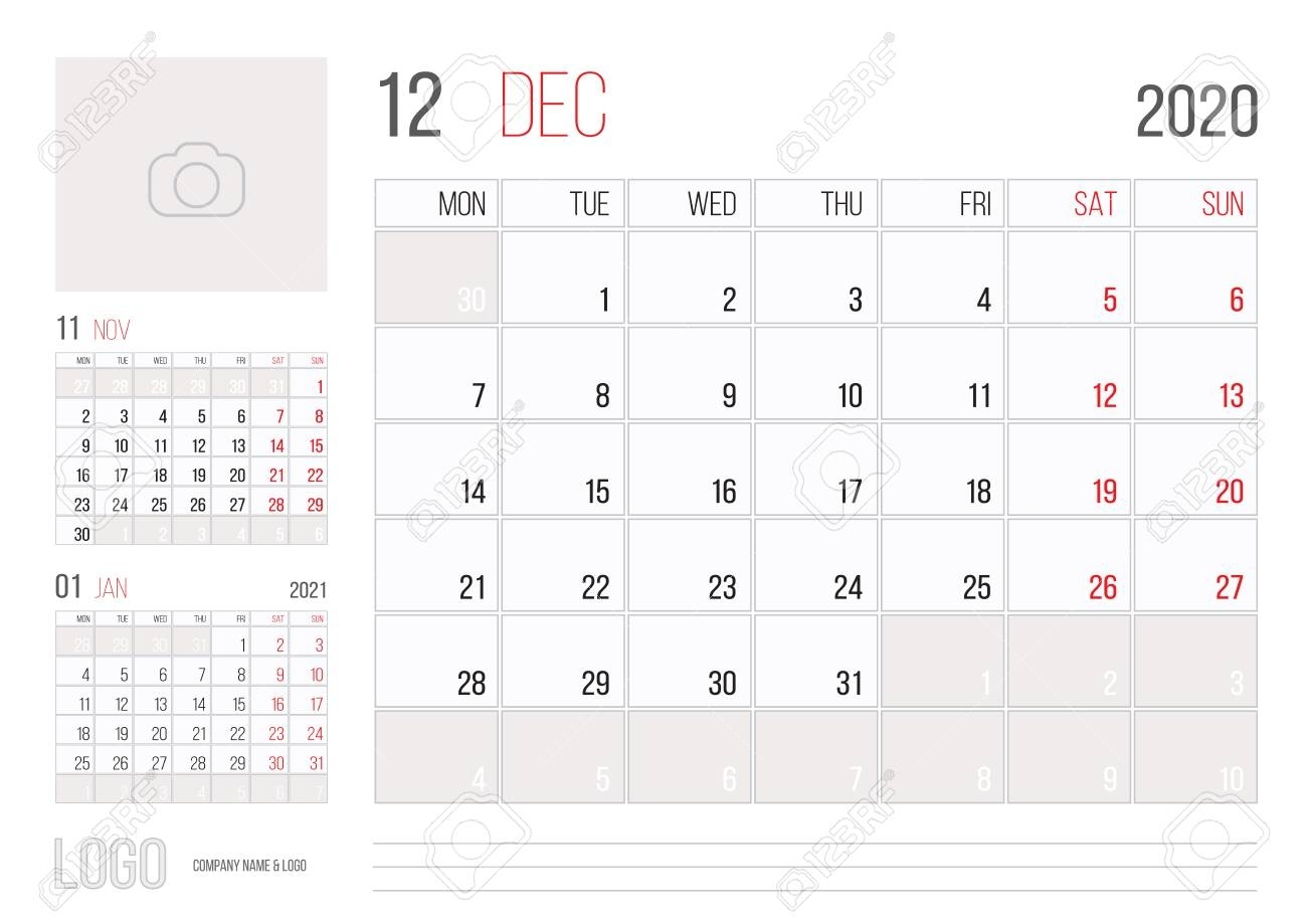 Calendar 2020 Planner Corporate Template Design December Month