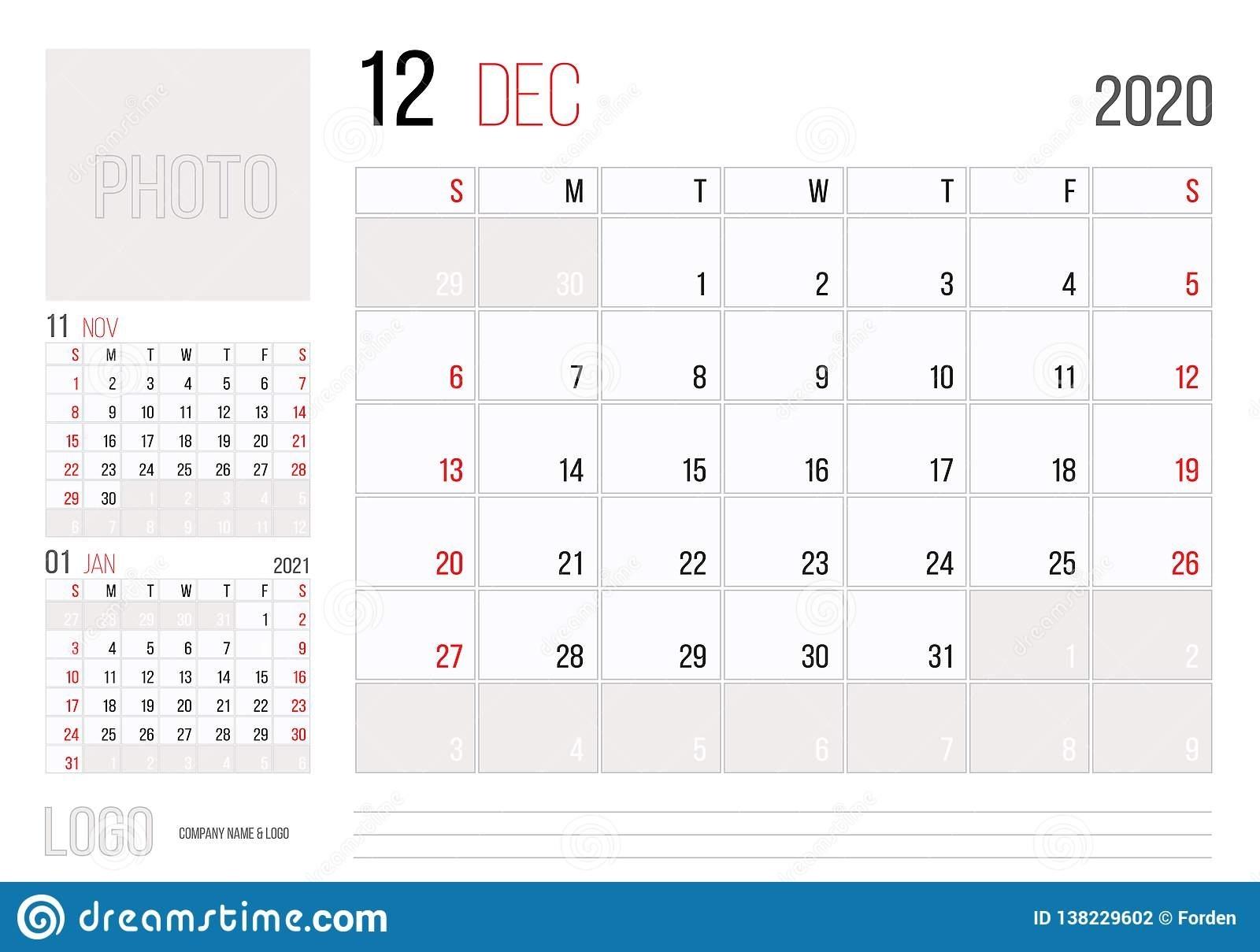 Calendar 2020 Planner Corporate Template Design December