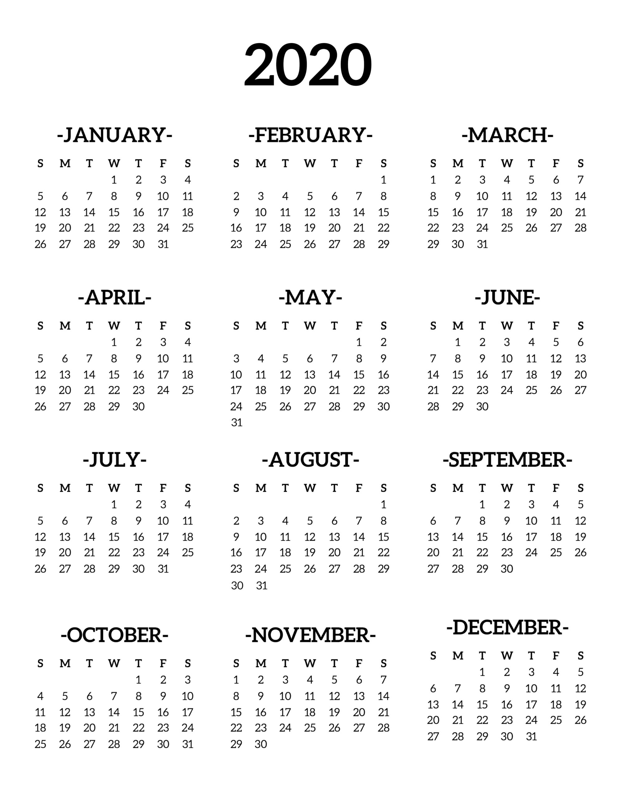 Calendar 2020 Printable One Page - Paper Trail Design