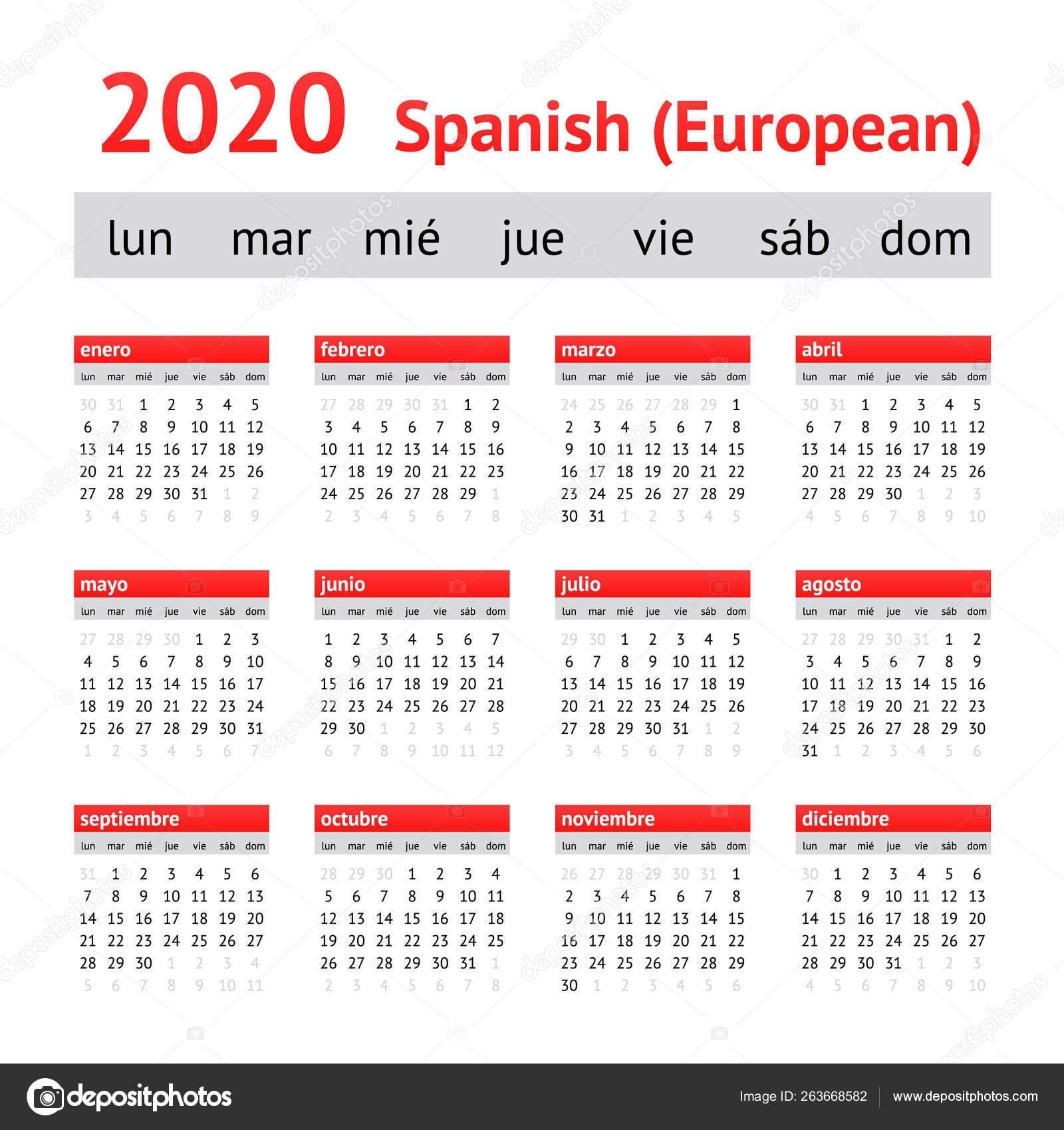 Calendar 2020 Spain. European Spanish Calendar — Stock