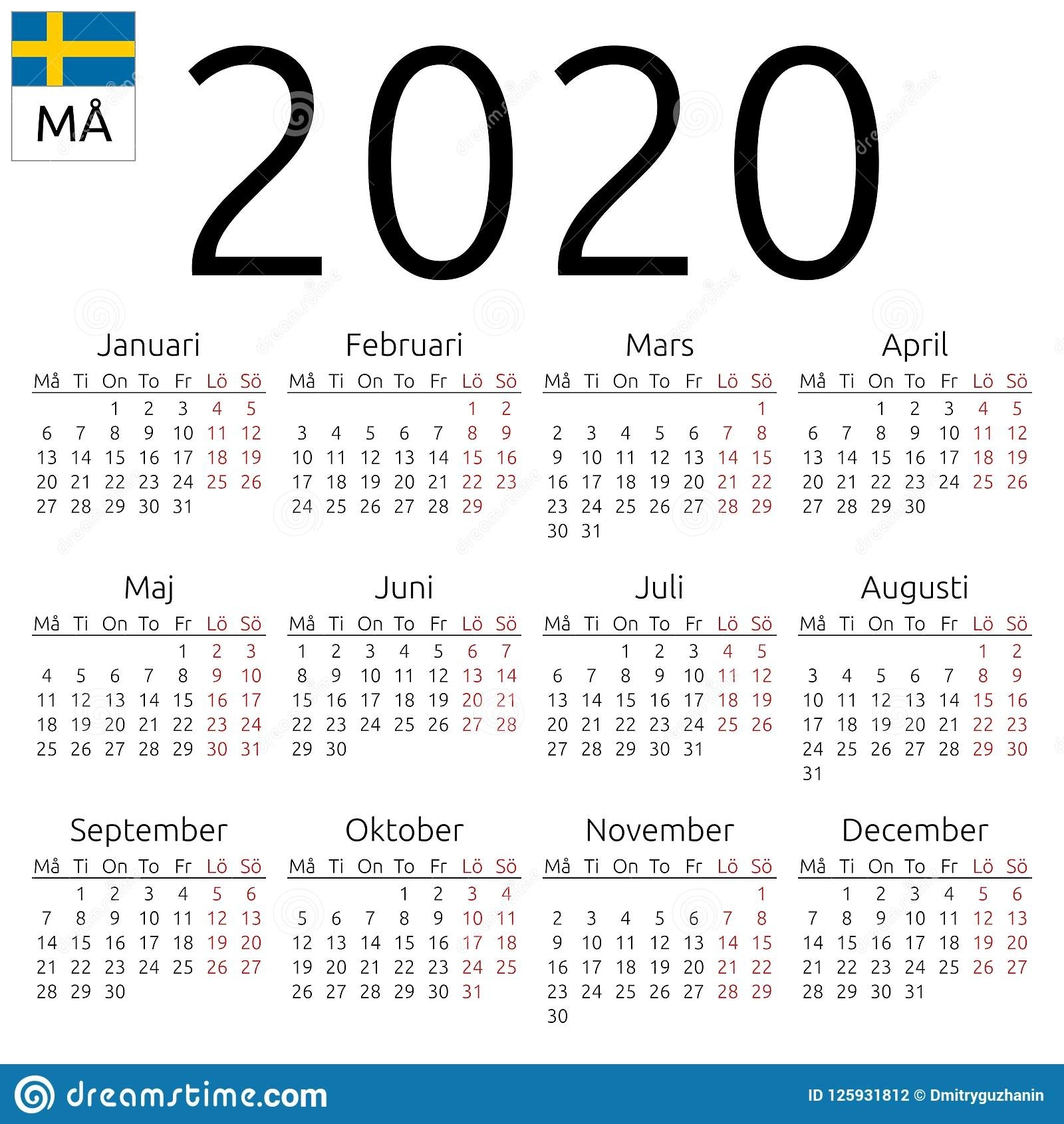 Calendar 2020, Swedish, Monday Stock Vector - Illustration