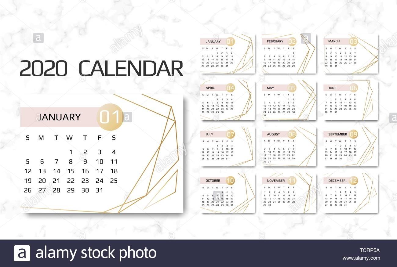 Calendar 2020 Template. 12 Months. Design With Geometrical