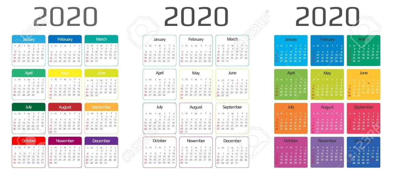 Calendar 2020 Template. 12 Months. Include Holiday Event. Week..