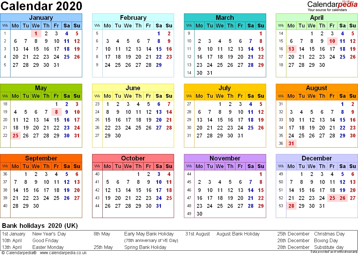 Calendar 2020 (Uk) - 17 Free Printable Pdf Templates