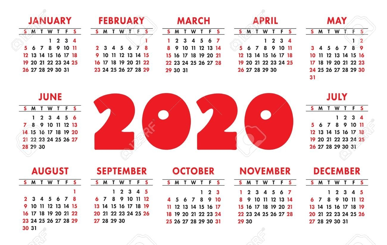 Calendar 2020 Vector Grid. English Template. Kids Design
