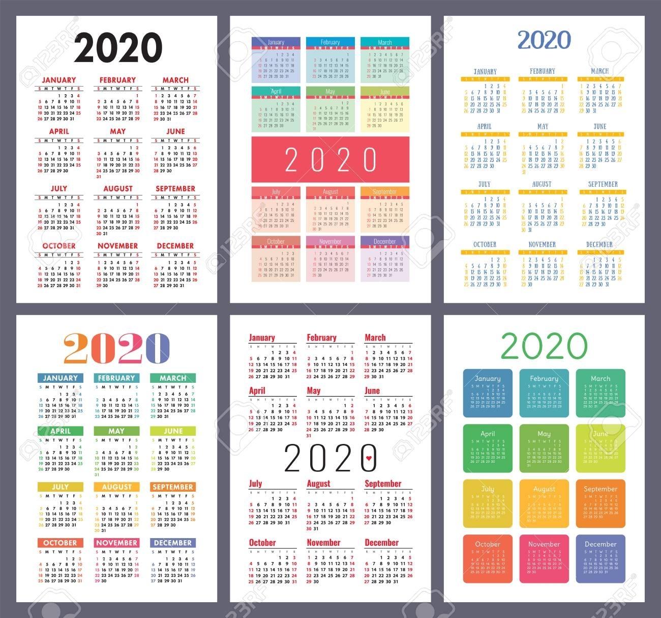 Calendar 2020. Vector Template Collection. Colorful English Pocket..