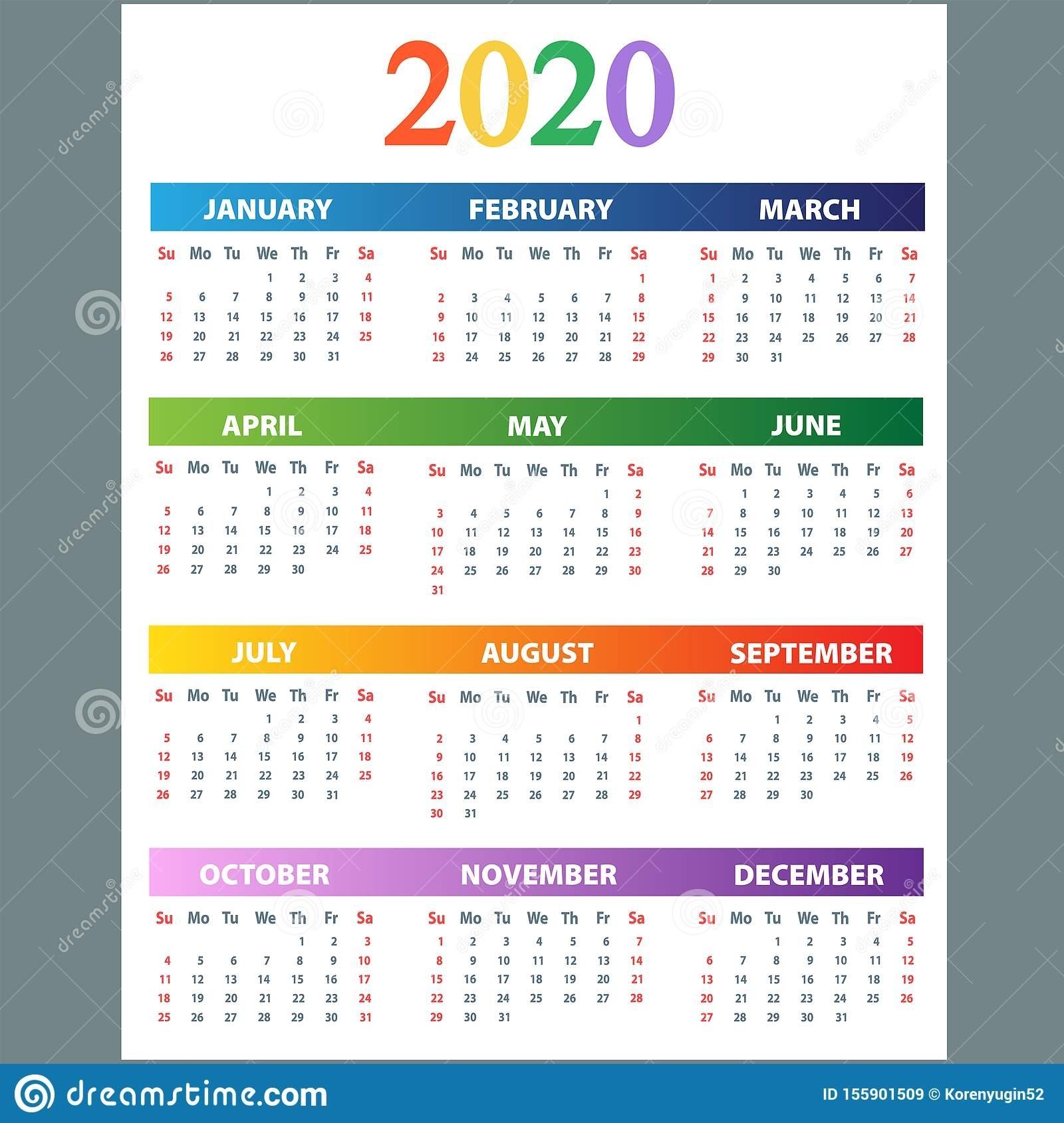 Calendar 2020. Wall Planner Calendars, Week Starts Grid And