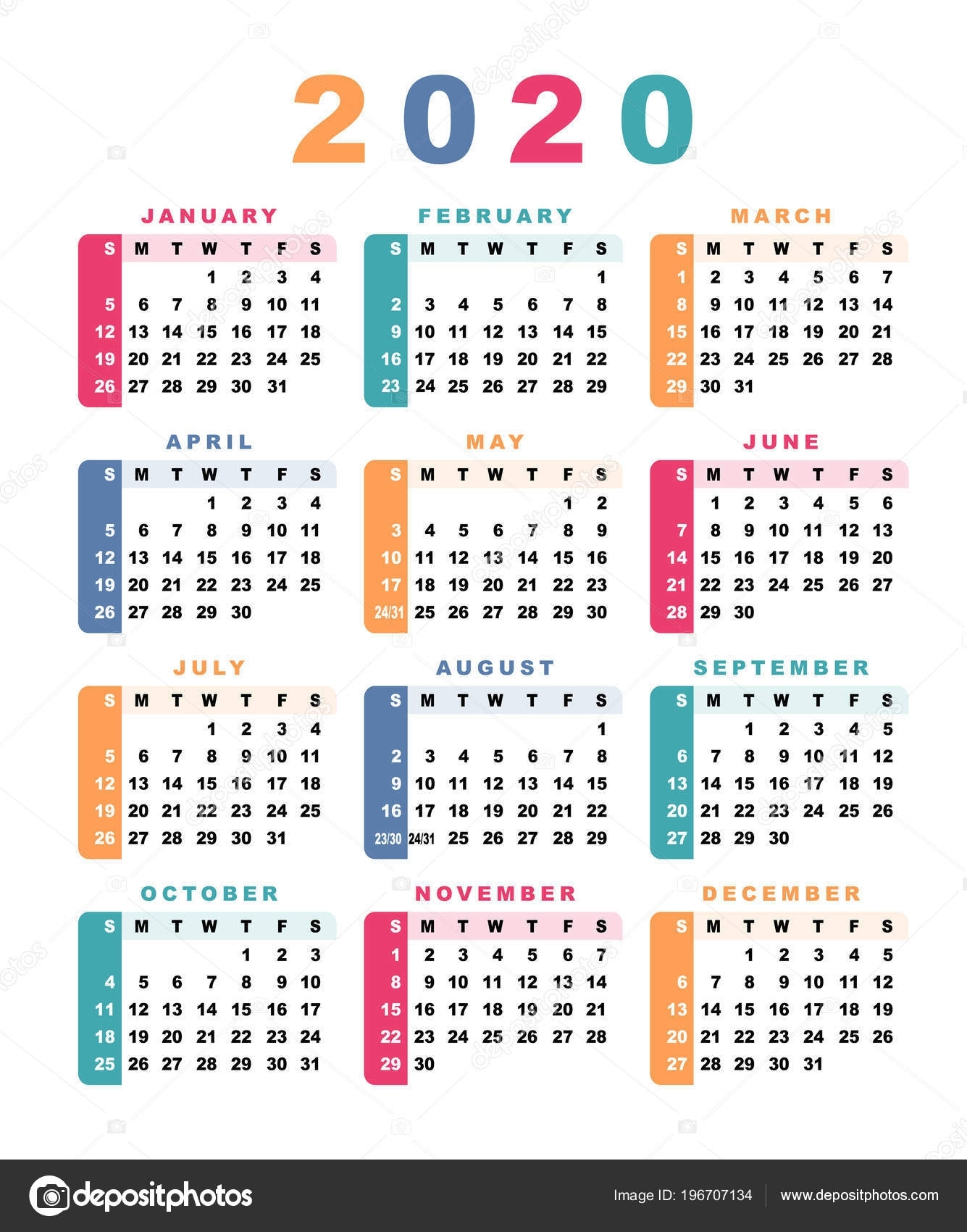 Calendar 2020 Week Starts Sunday Vector Illustration — Stock