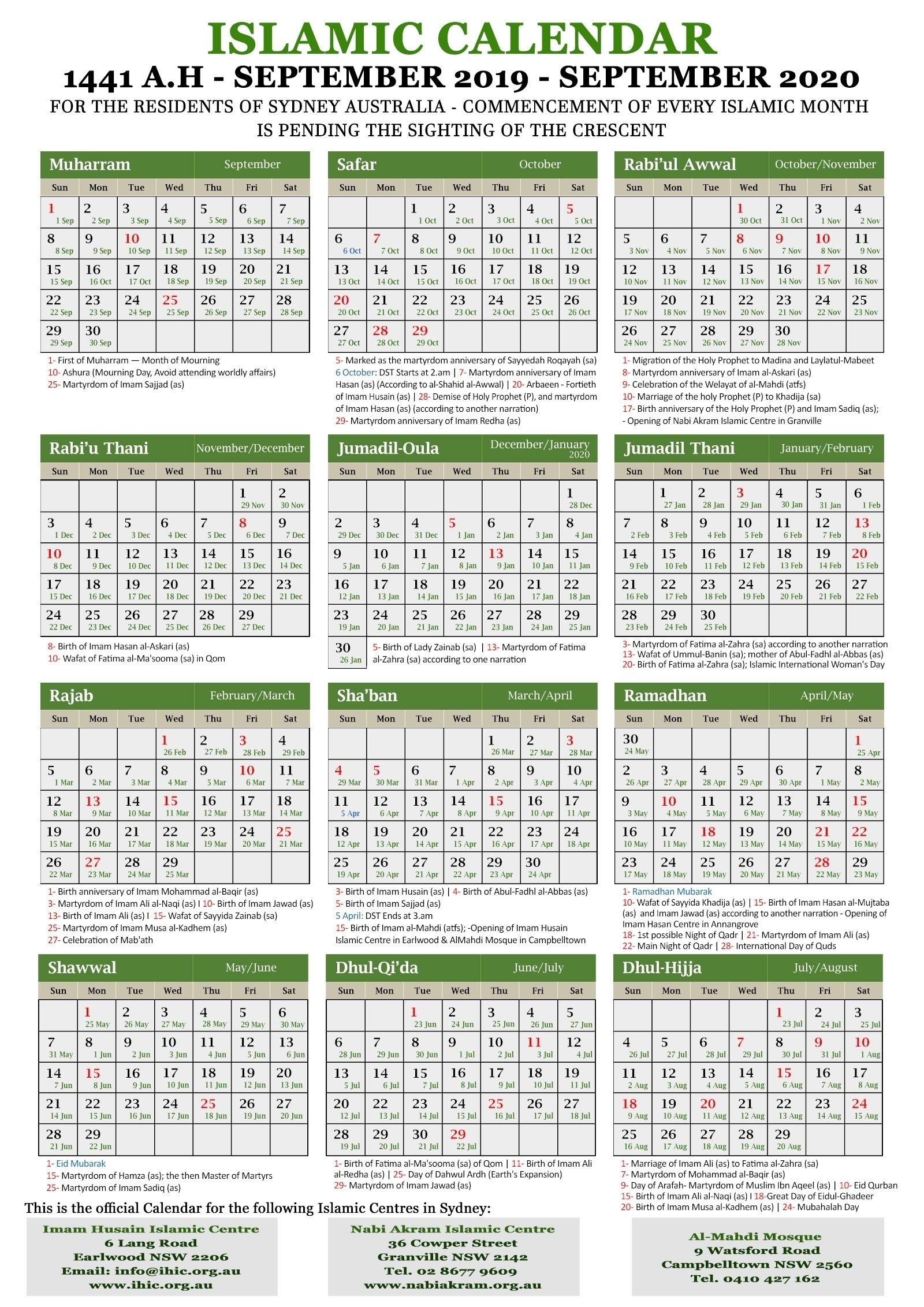 Calendar 2020 With Hijri – Get Your Calendar Printable