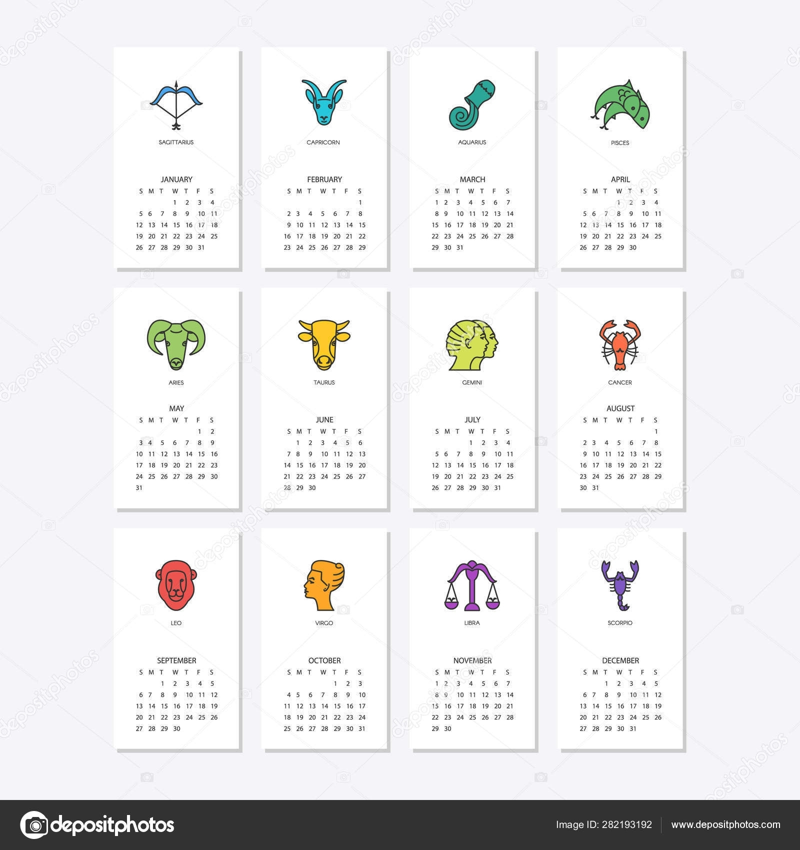 Calendar 2020 With Horoscope Signs Zodiac Symbols Set
