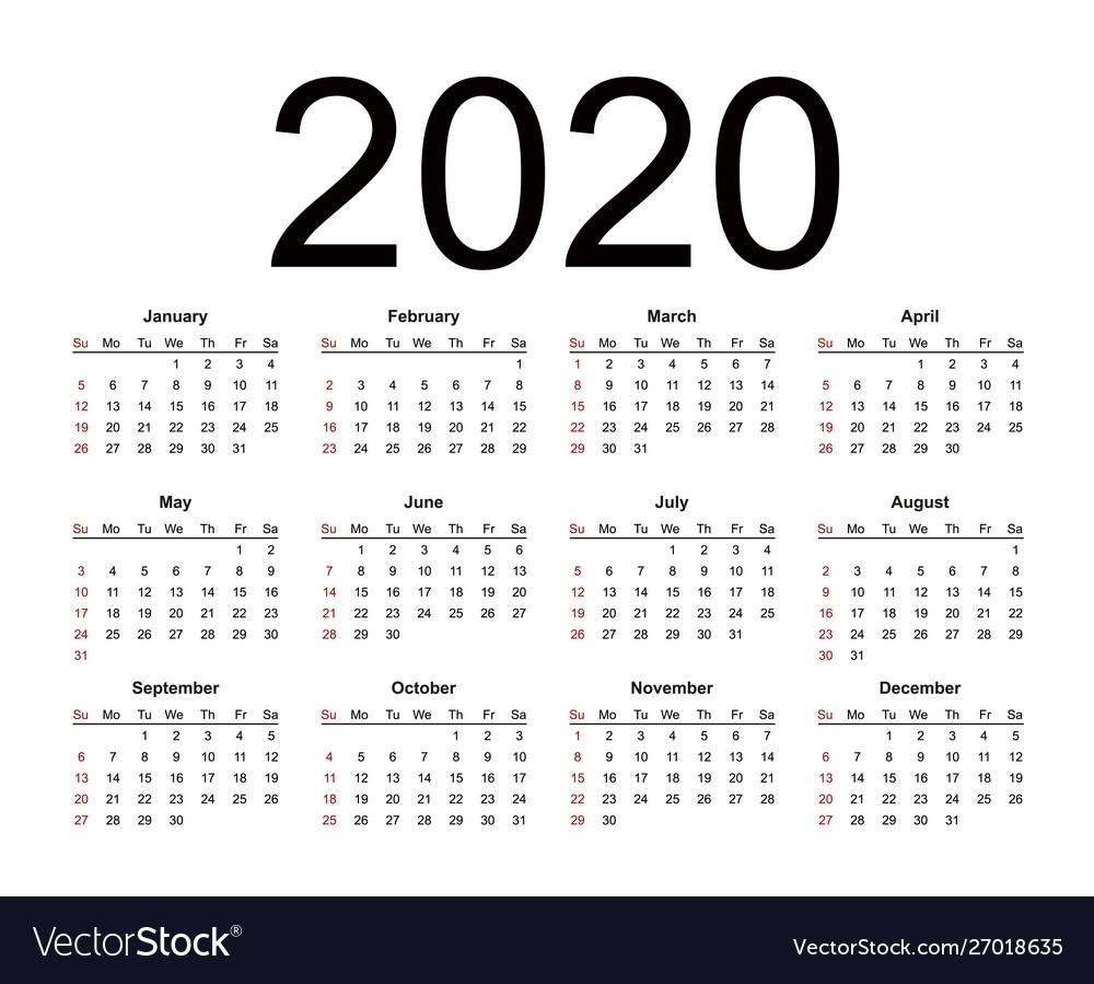 Calendar 2020 Year Simple Style