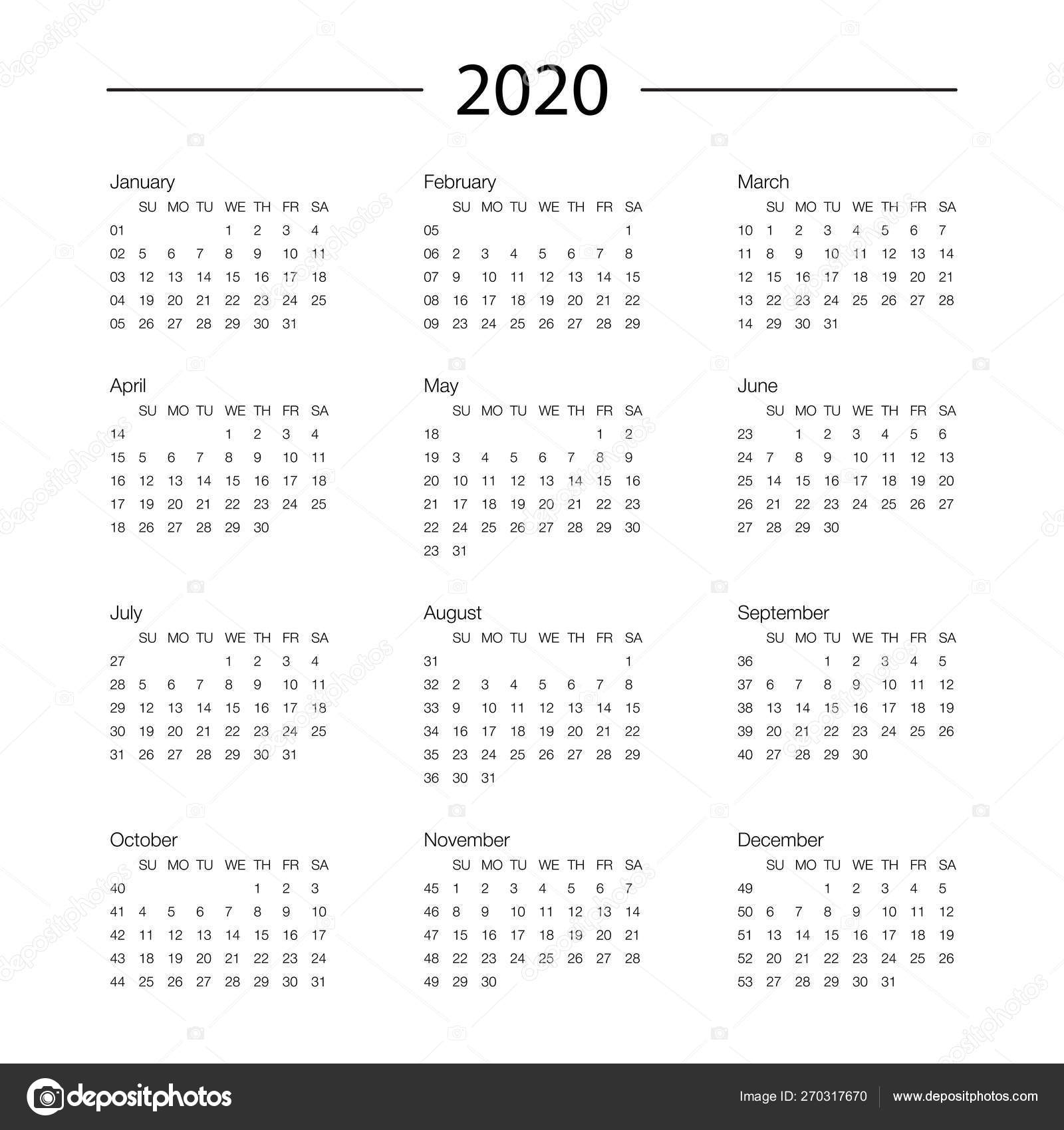 Calendar 2020 Year Template Day Planner In This Minimalist