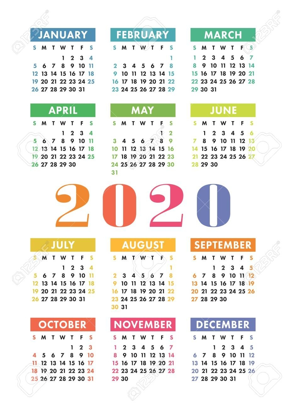 Calendar 2020 Year. Vector Design Template. Colorful English..