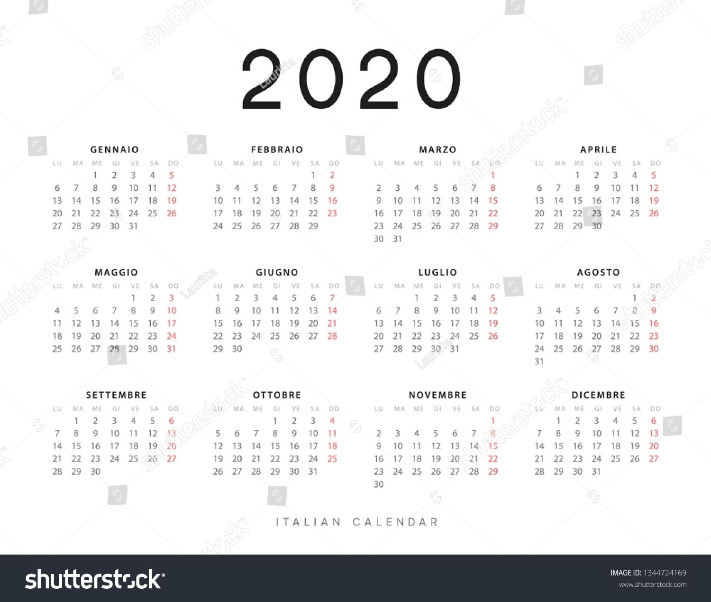 Calendar 2020 Year Week Starts On | Royalty-Free Stock Image