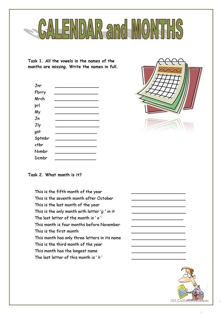 Calendar And Months - English Esl Worksheets