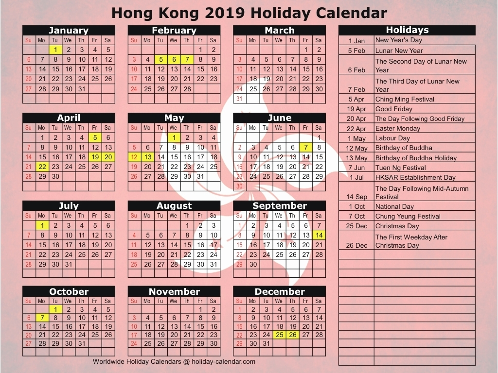 Calendar April 2019 2020 With Holidays Hong Kong 2019 2020