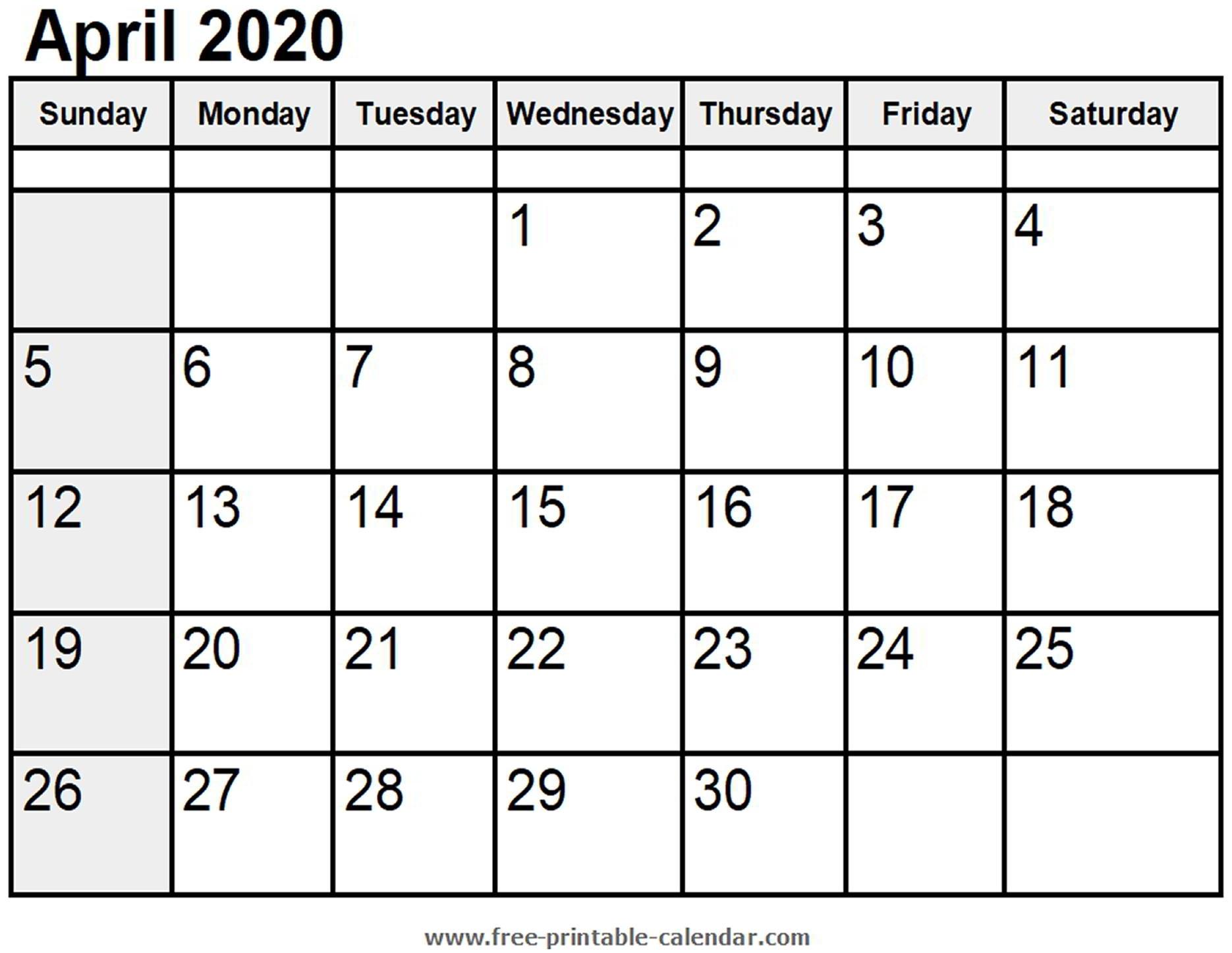 Calendar April 2020 - Free-Printable-Calendar