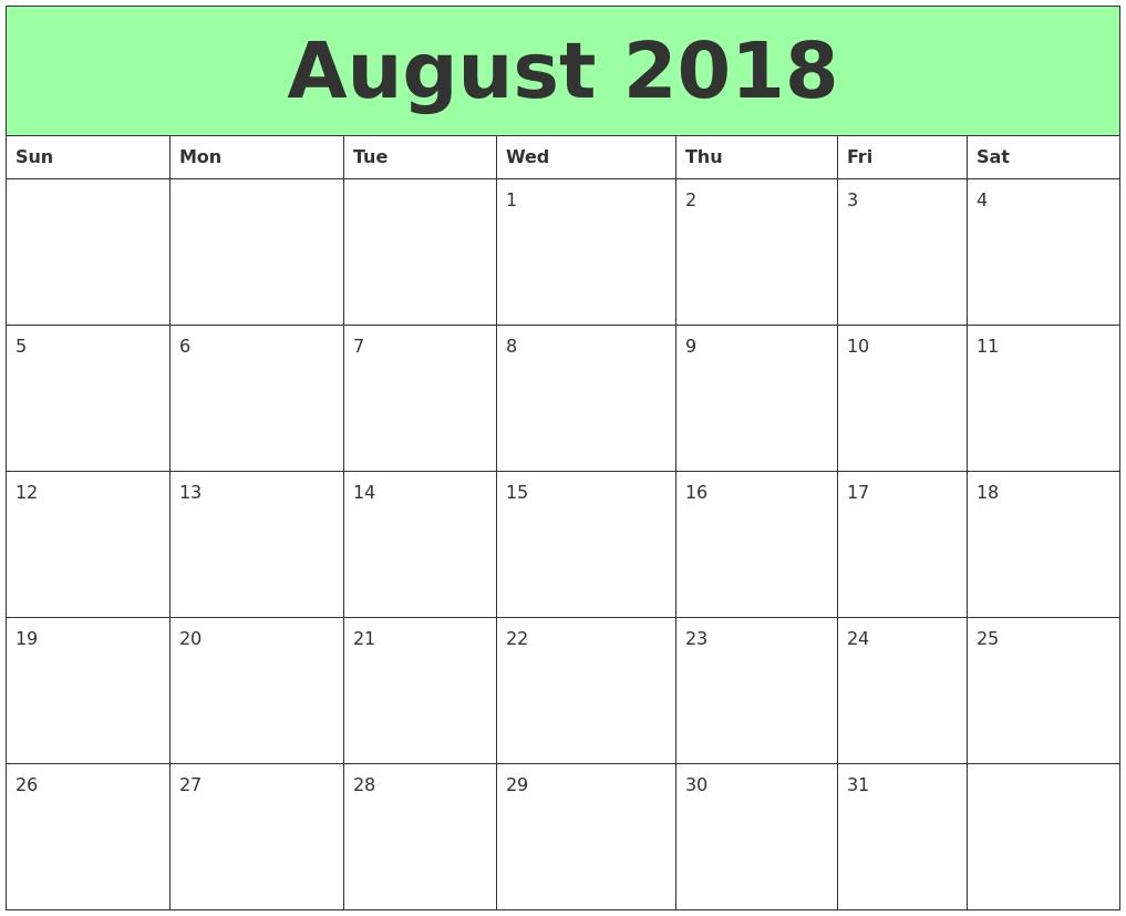 Calendar August 2018 Printable – Landscape Format | August