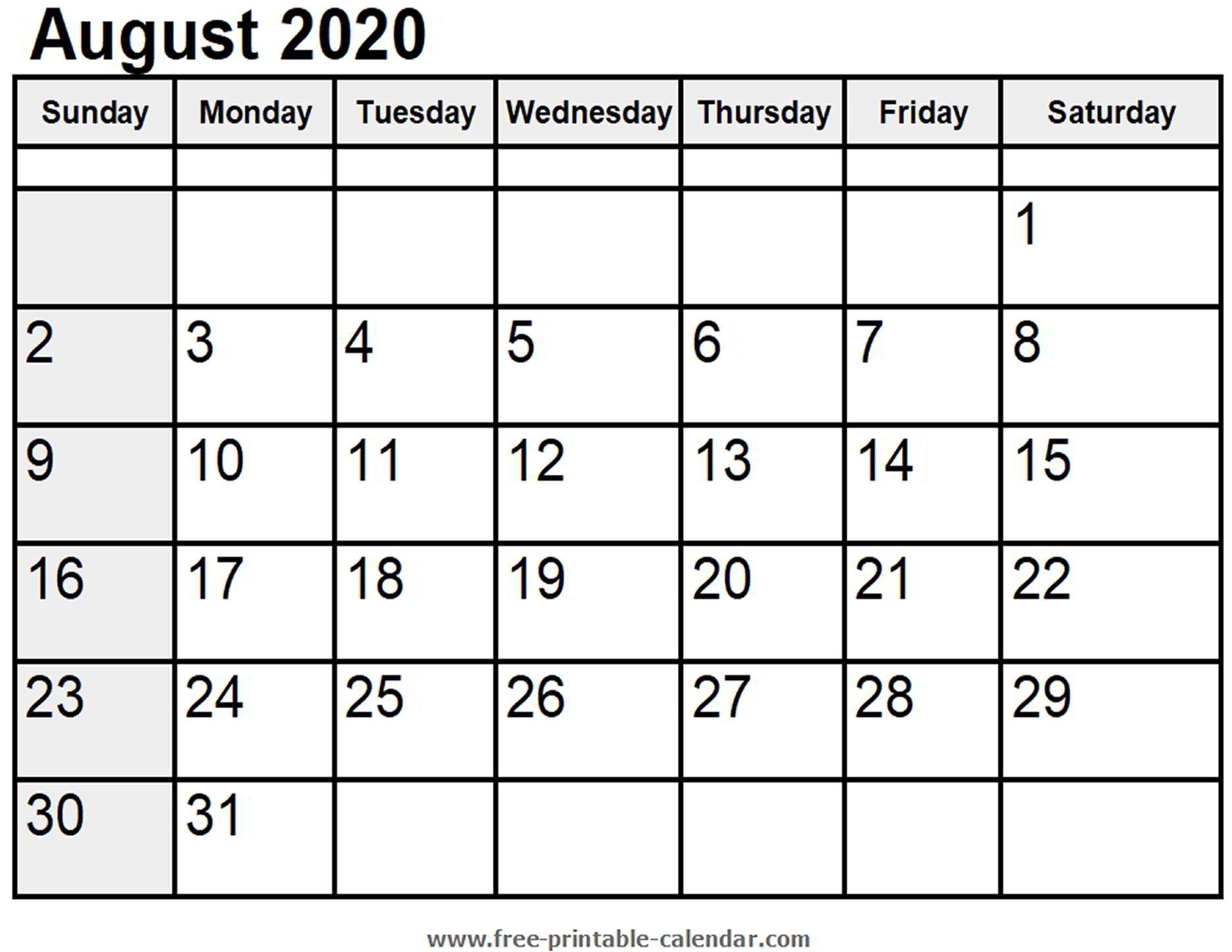 Calendar August 2020 - Free-Printable-Calendar