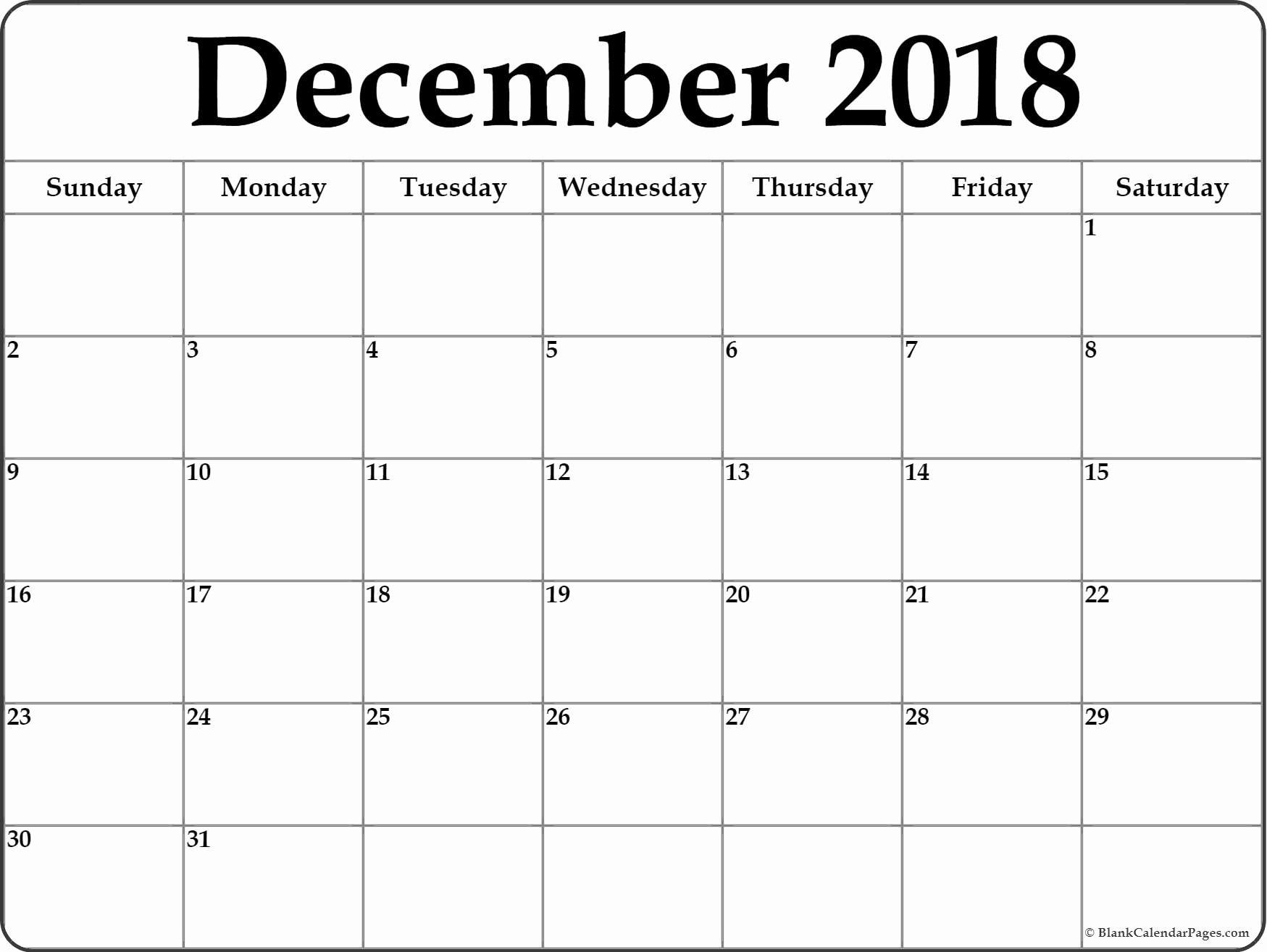 Calendar December 2018 And January 2019   Blank Calendar