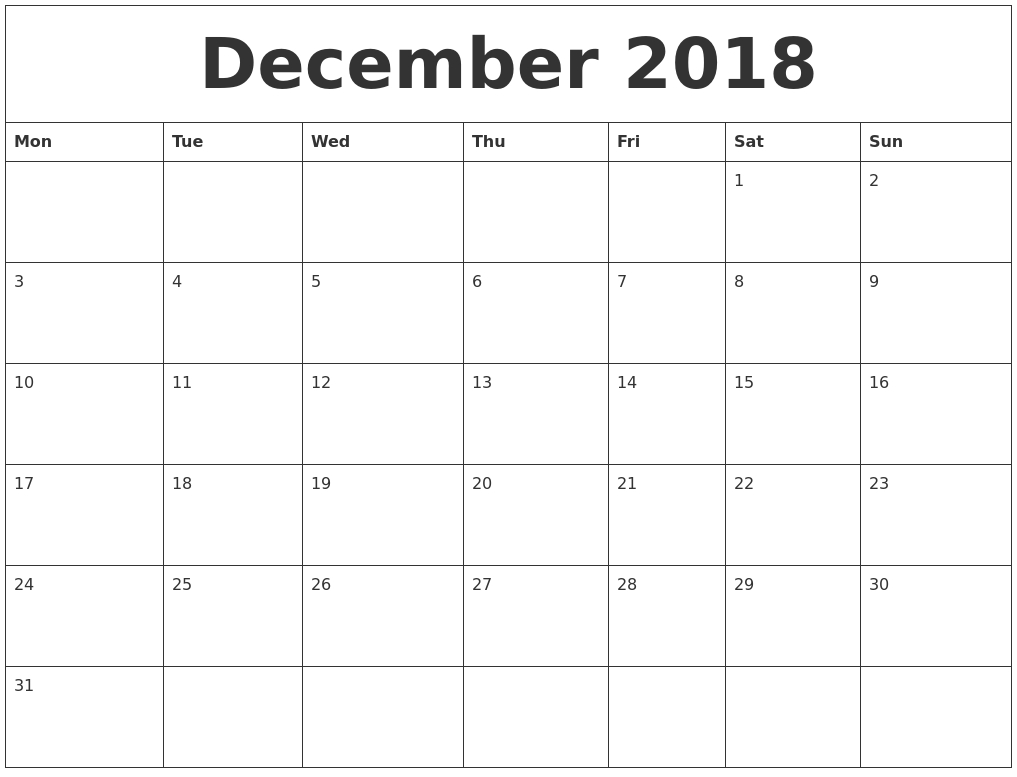 Calendar December 2018 Uk | Monthly Calendar Template