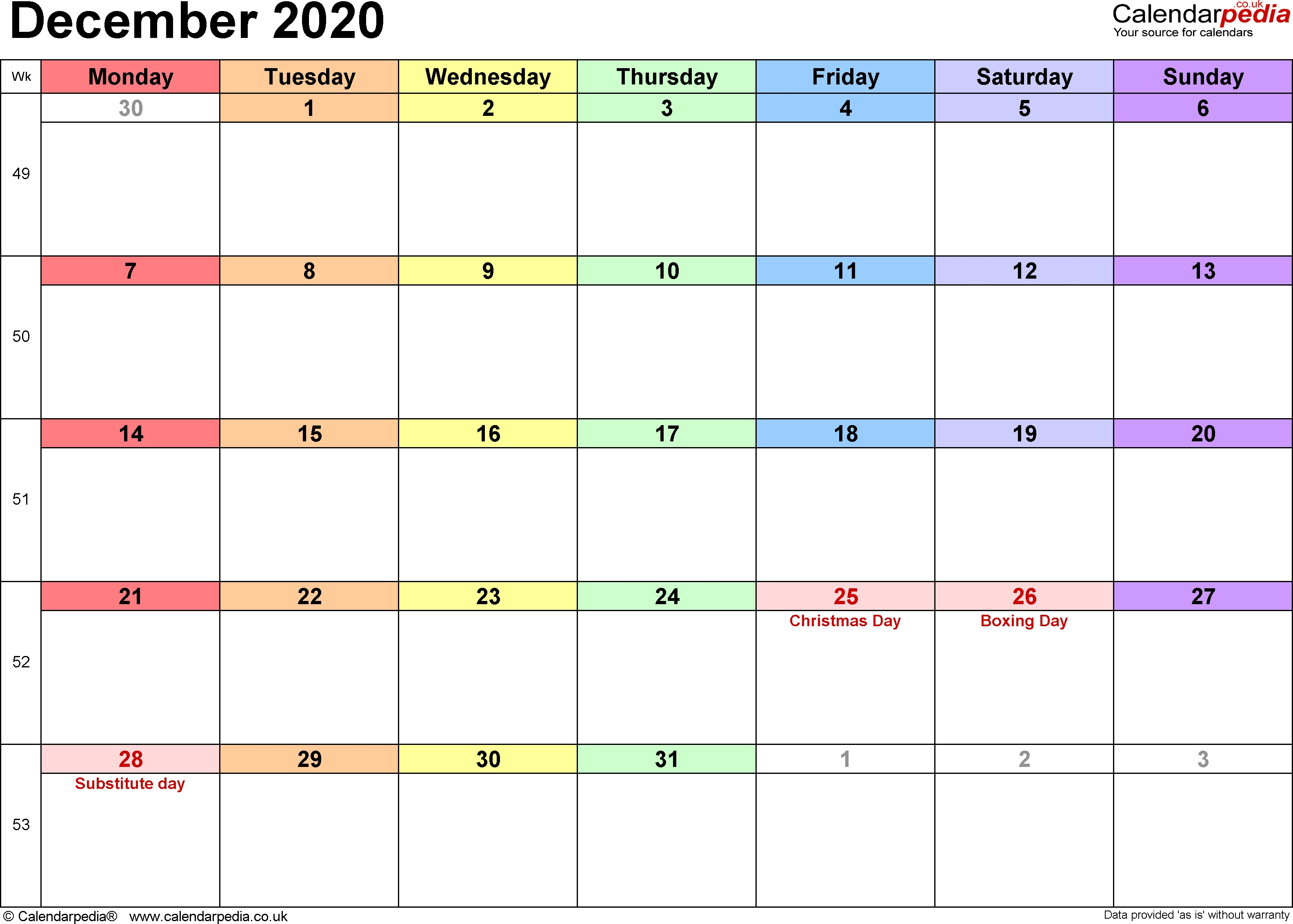 Calendar December 2020 Uk, Bank Holidays, Excel/pdf/word