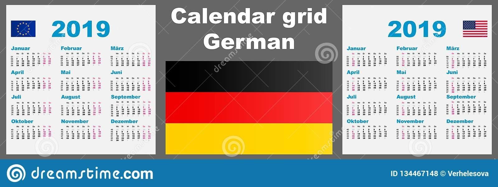 Calendar Deutsche, German 2019 Set Grid Wall Iso 8601