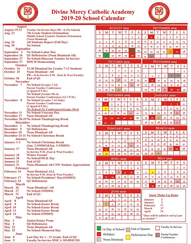 Calendar - Divine Mercy Catholic Academy