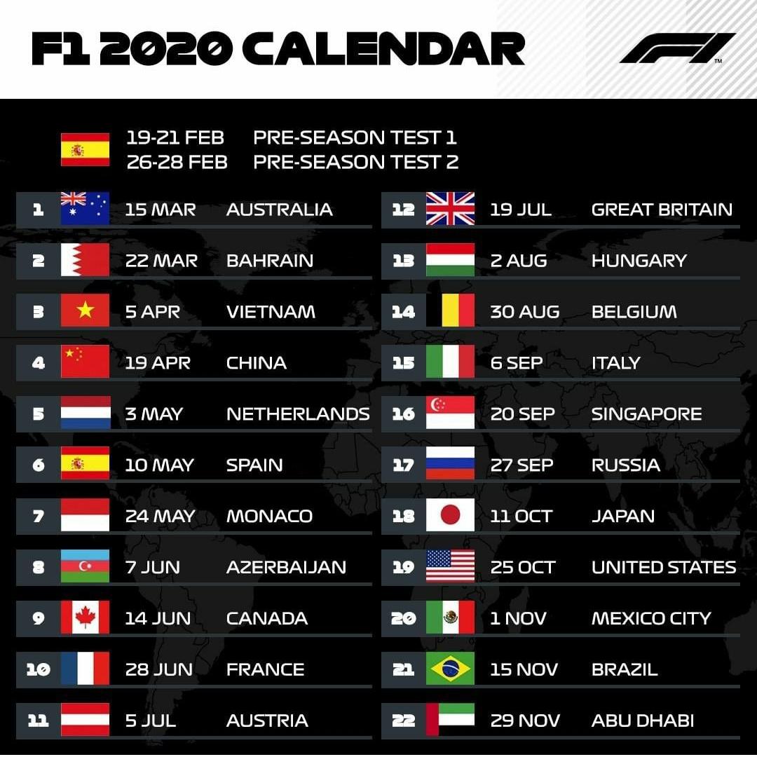 Calendar F1 2020. Is This The 2020 F1 Calendar?. 2019-11-06