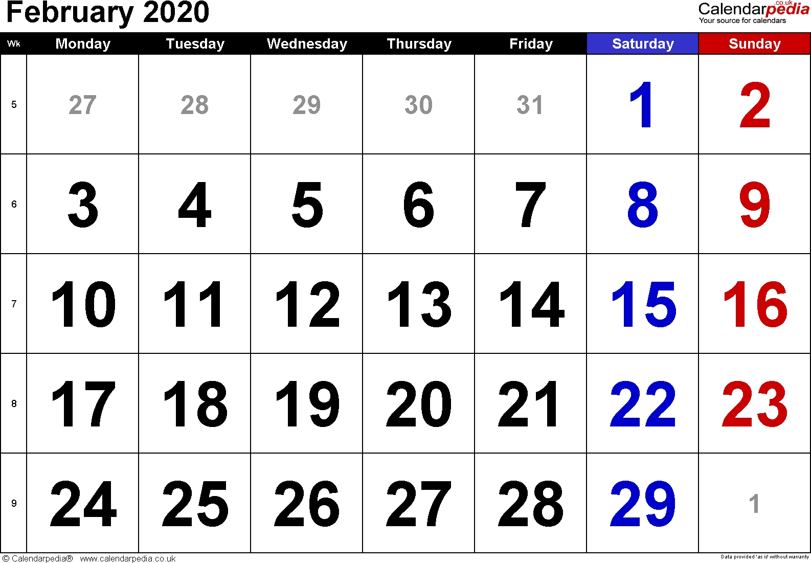 Calendar February 2020 Uk, Bank Holidays, Excel/pdf/word