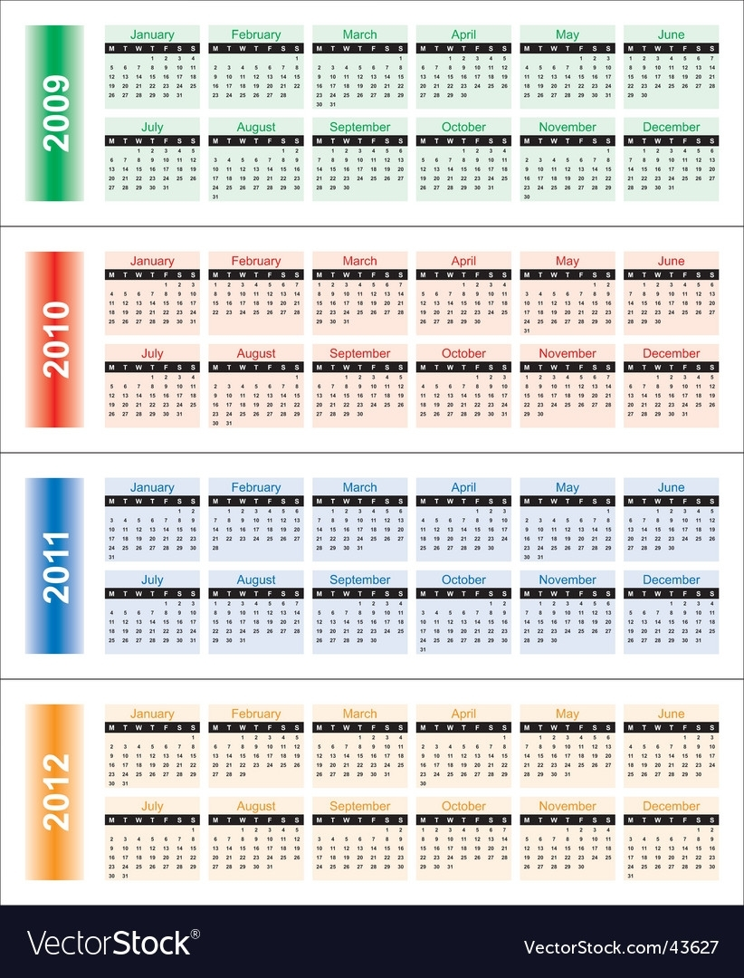 Calendar For 2009-2018