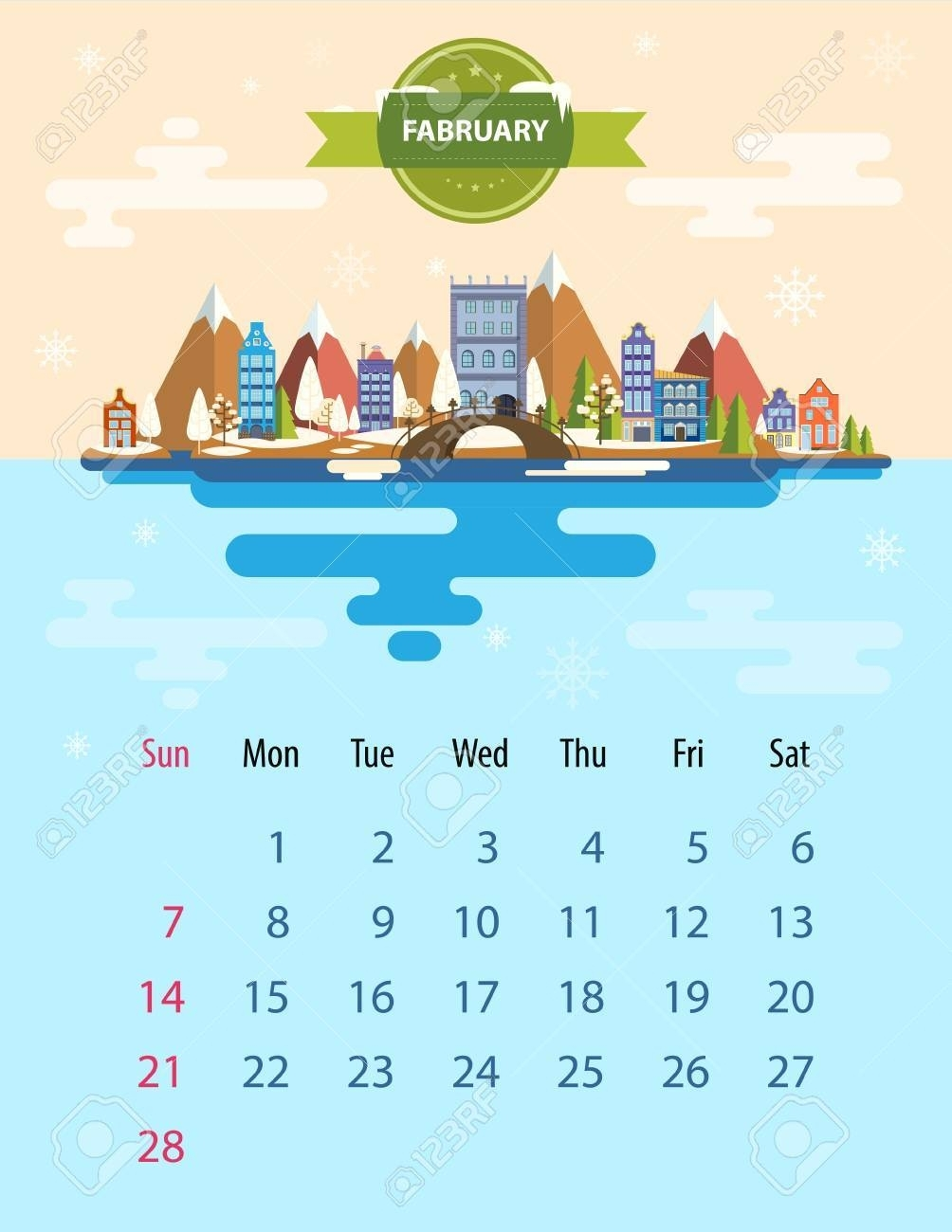 Calendar For 2016 In Letter Format. Style Slim Design. Set 5