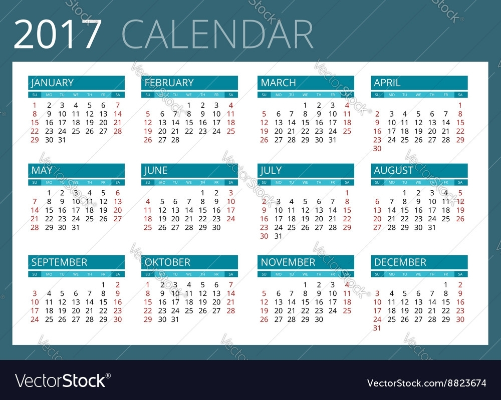 Calendar For 2017 Week Starts Sunday Simple