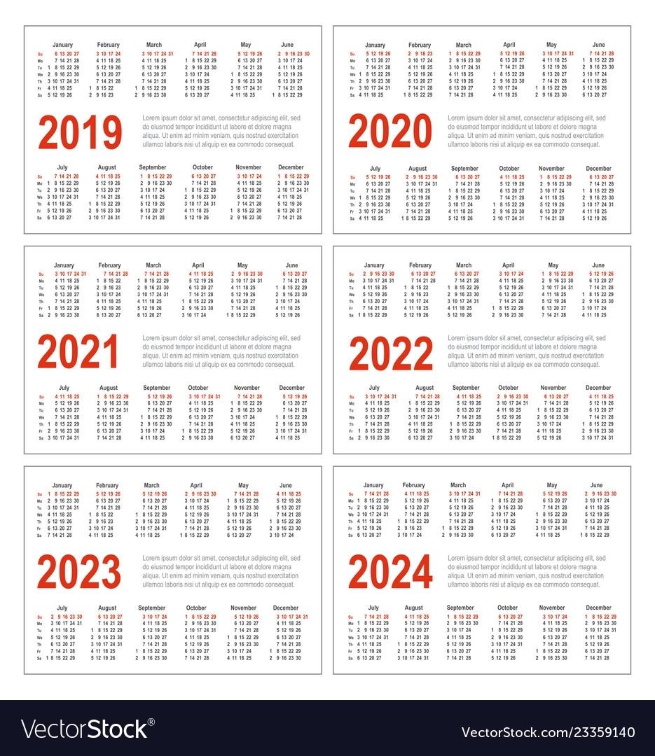 Calendar For 2019 2020 2021 2022 2023 2024
