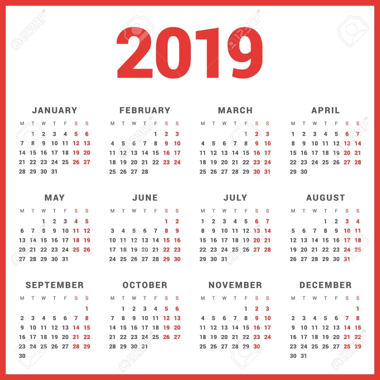 Calendar For 2019 Year On White Background. Week Starts Monday