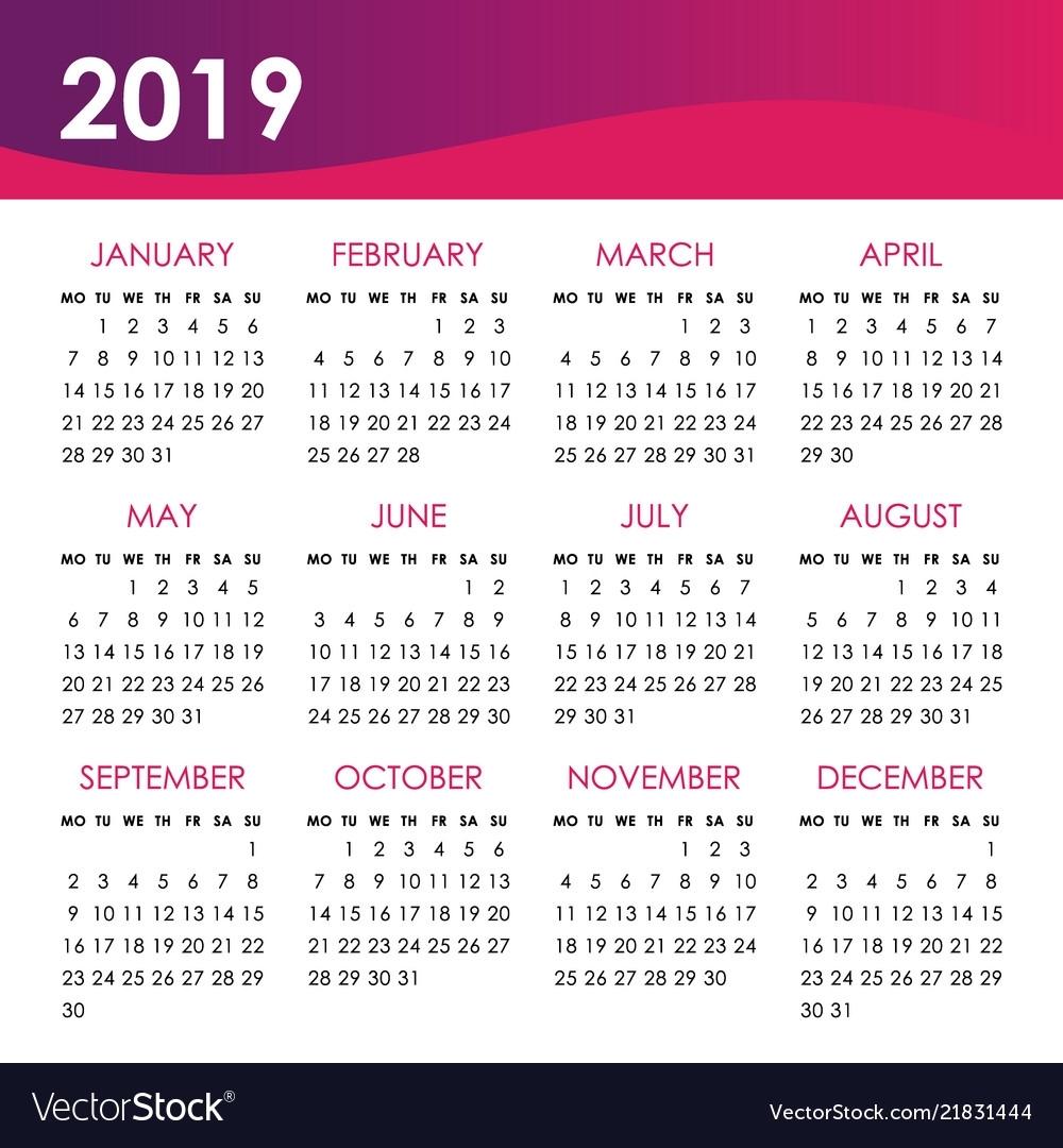 Calendar For 2019 Year Week Starts Monday