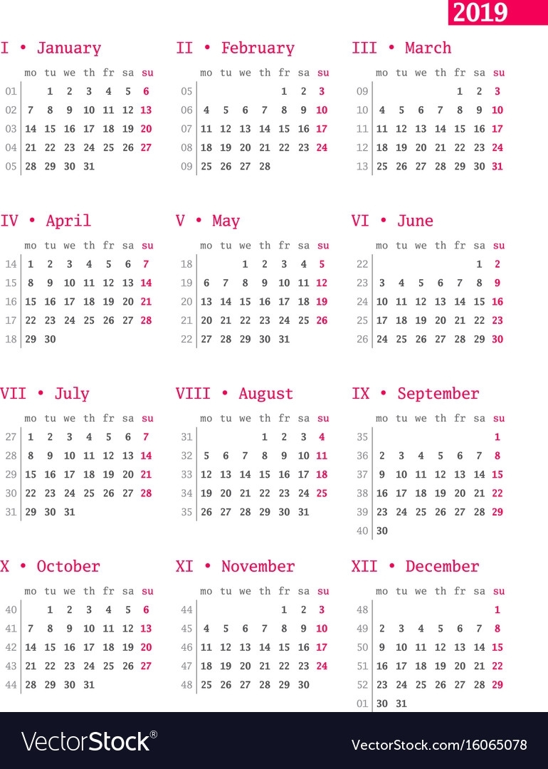 Calendar For 2019 Year With Week Numbers On White