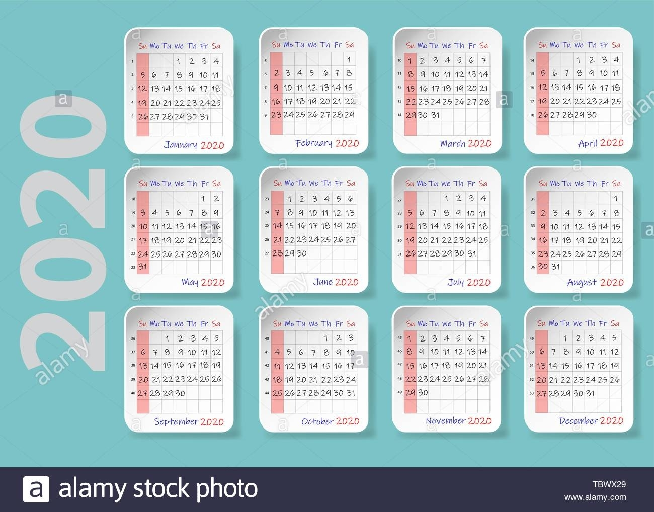 Calendar For 2020. Twelve Sheets With The Shadows Are