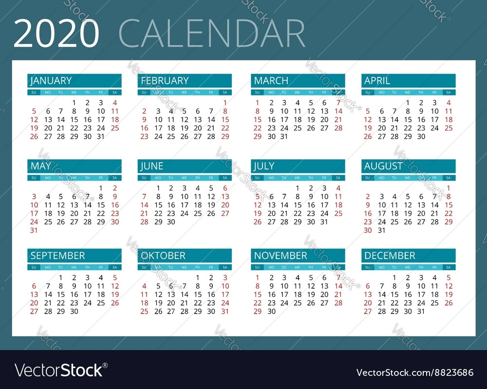 Calendar For 2020 Week Starts Sunday Simple