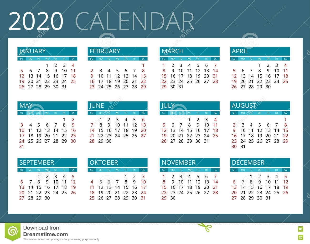 Calendar For 2020. Week Starts Sunday. Simple Vector Design