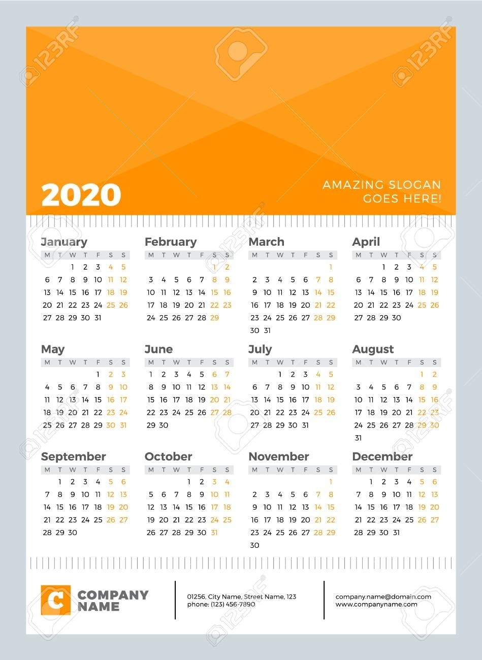 Calendar For 2020 Year. Week Starts On Monday. Vector Design..