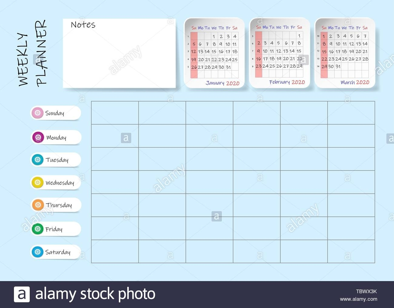 Calendar For First Quarter Of 2020 Year With Weekly Planner