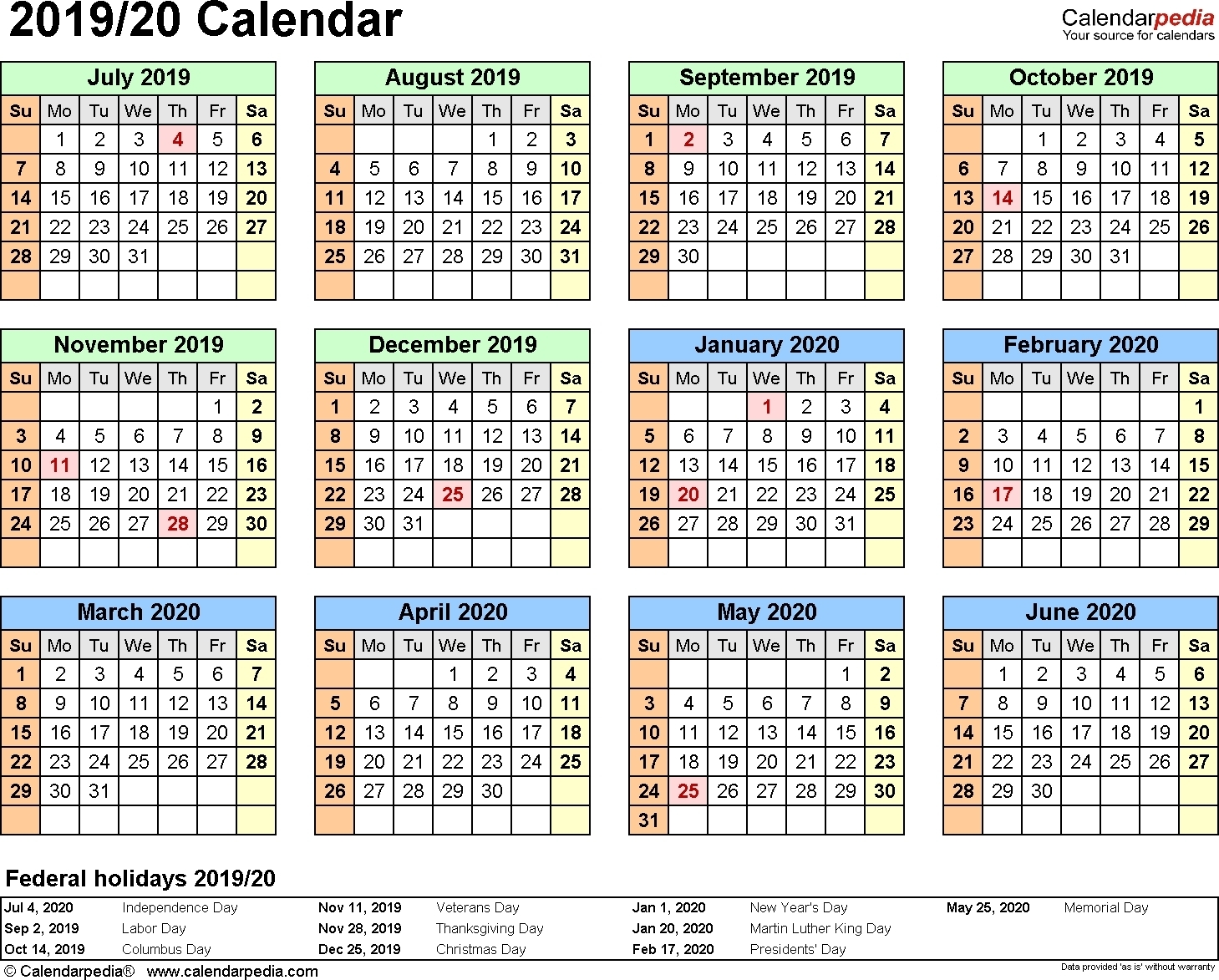 Calendar For School Year 2020-19 | Calendar Design Ideas