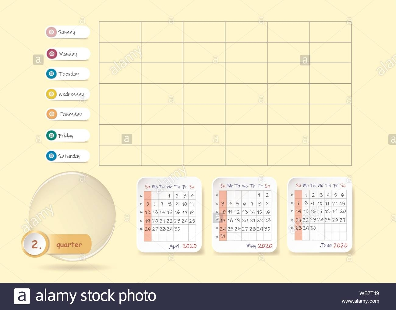 Calendar For Second Quarter Of 2020 Year With Weekly Planner