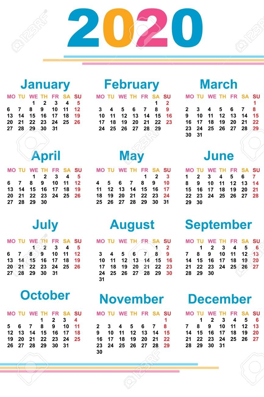 Calendar For The New Year. 2020. Grid. Date. For Your Design.