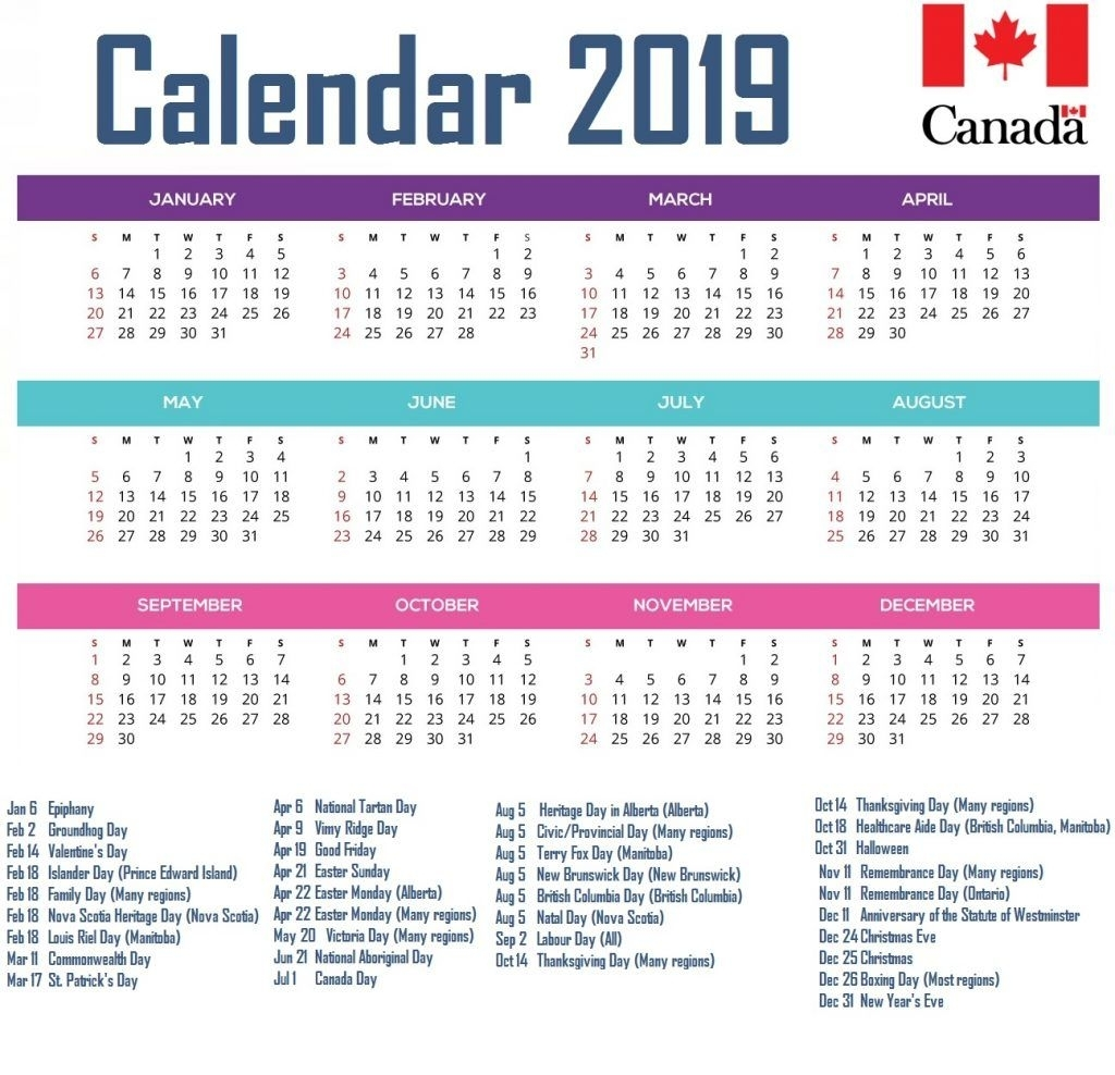 Calendar For Year 2019 Canada #canadacalendar